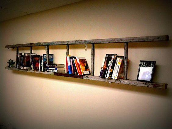 ladder bookshelf: Decorating Idea, Vintage Ladders, Ladder Bookshelf, Book Shelf, Wooden Ladder, Ladder Bookcase, Bookshelf Ladder, Ladder Shelf, Ladder Shelves
