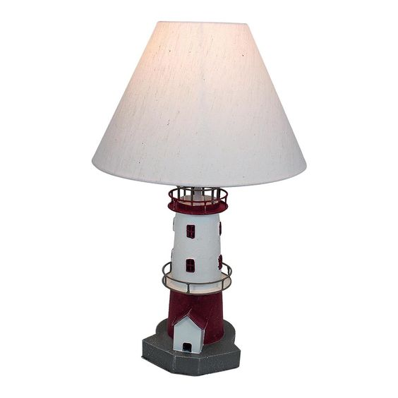 Lighthouse Table Lamp, Red/ White | ACHICA