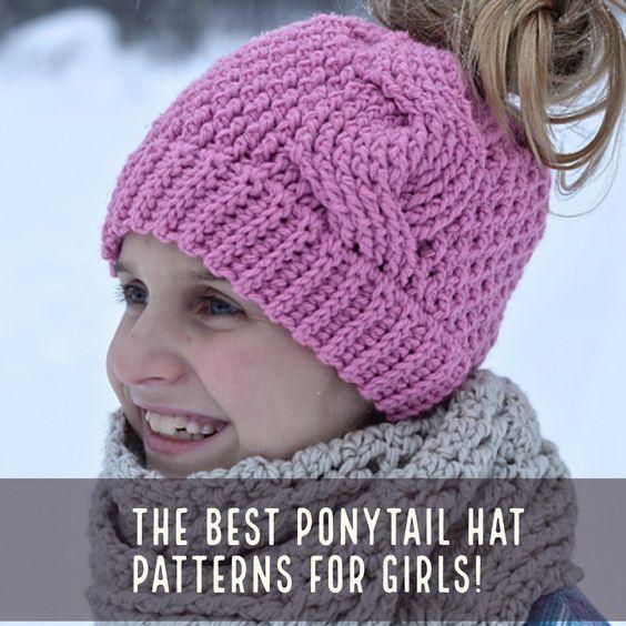 Ponytail hat patterns for girls aka messy bun beanie. Enjoy! Messy Bun Hats...