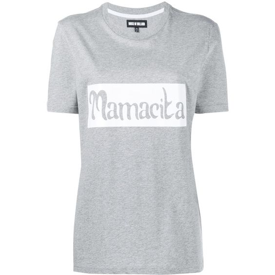 House Of Holland Mamacita T-Shirt (€100) ❤ liked on Polyvore featuring tops, t-shirts, print t shirts, white cotton tee, slogan tees, white cotton t shirts and cotton t shirt
