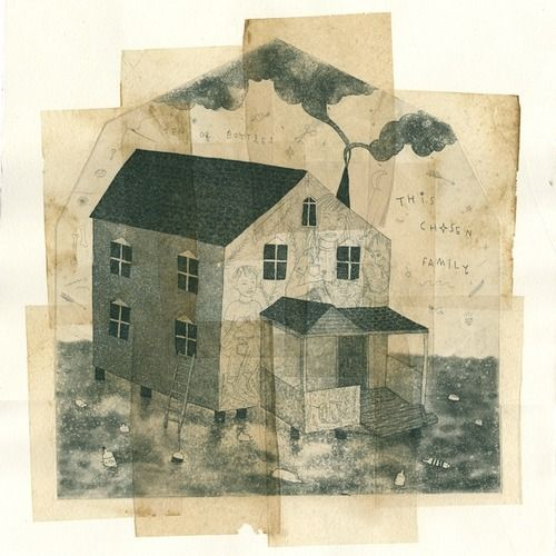 Chosen Family, 2012. Etching, aquatint, spit bite and chine colle with tea bags. 18 x 15 inches.