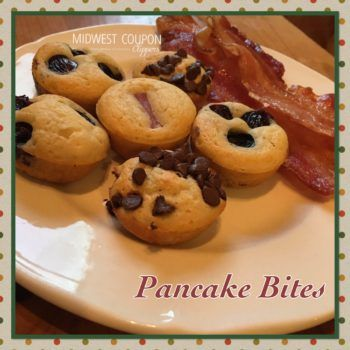 Mini Pancake Bites.  Using pancake mix and any topping you want.  Fast easy, & great for little ones!