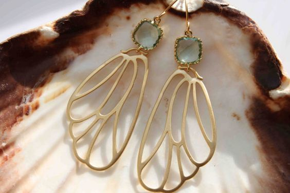 Prasiolite. Gorgeous very delicate 16k gold plated butterfly wing ornament and prasiolite earrings