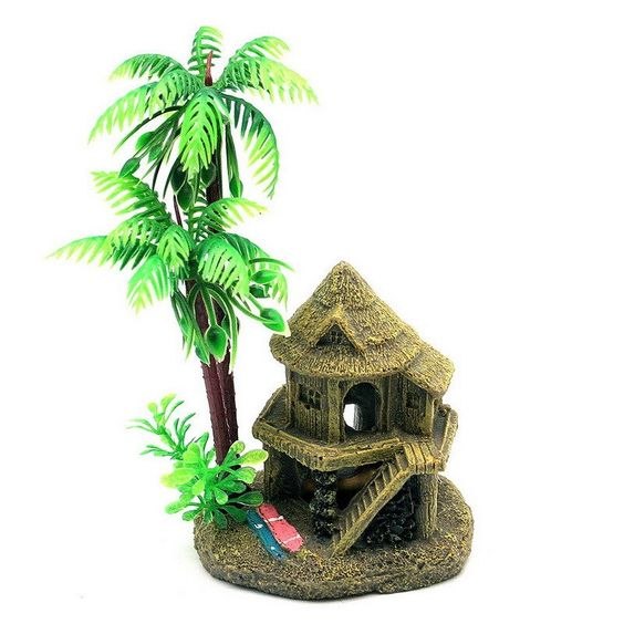 resin coconut tree castle aquariums fish tank ornaments decoration
