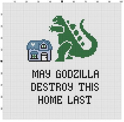 may godzilla destroy this home last cross stitch pattern instant download pinterest. Black Bedroom Furniture Sets. Home Design Ideas