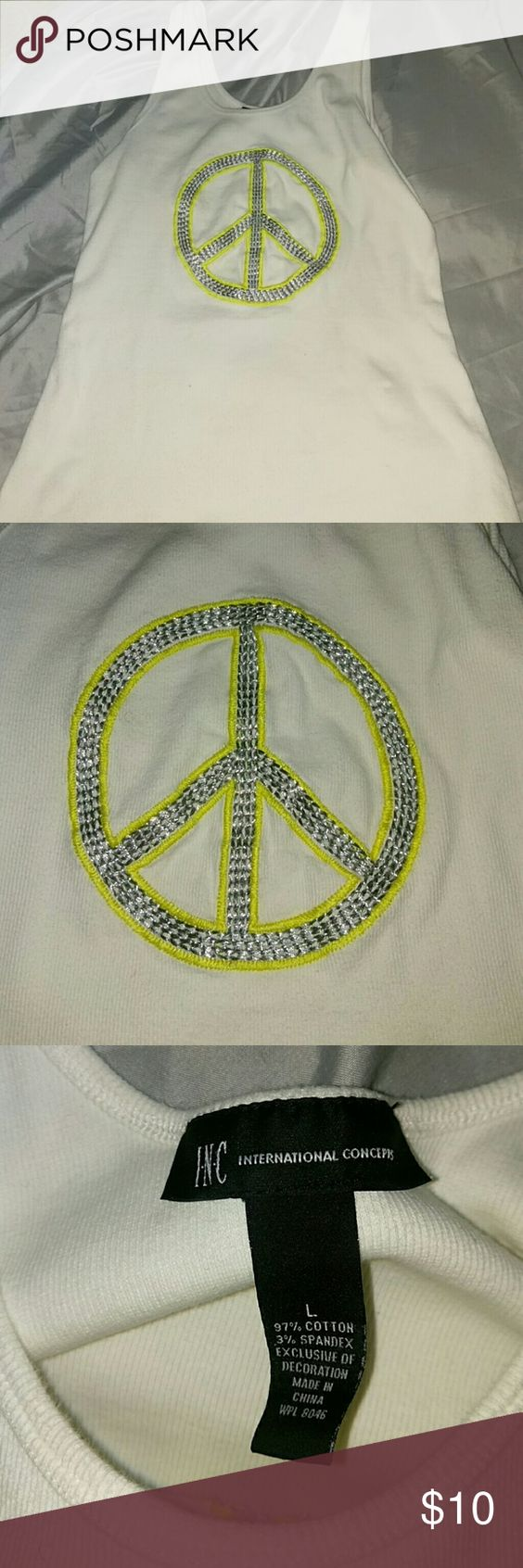 Peace sign tank top White tank with yellow and silver piece sign emblem INC International Concepts Tops Tank Tops