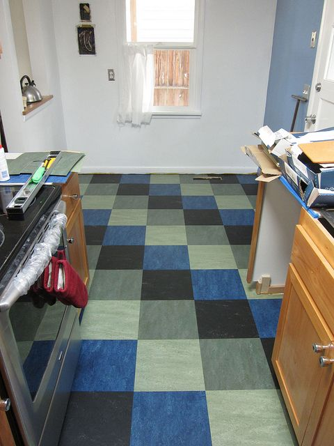 Jade eucalyptus blue and black marmoleum floor for Blue linoleum floor tiles