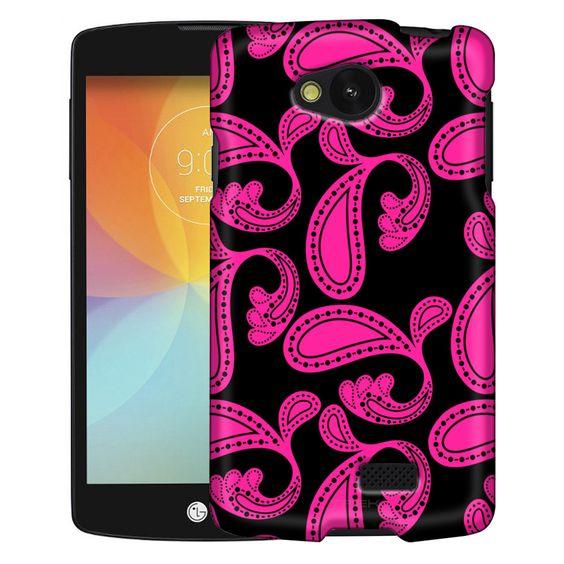 LG Optimus F60 Paisleys Bold Pink on Black Slim Case