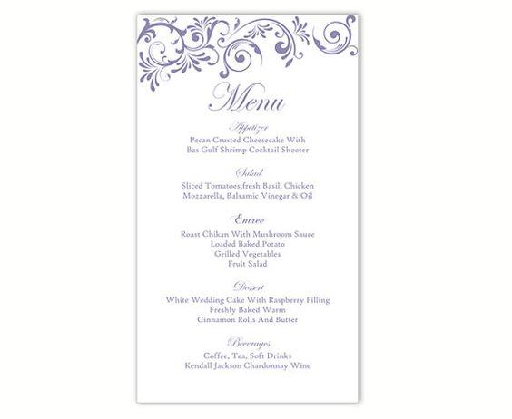 Wedding Menu Template DIY Menu Card Template Editable Text Word File Instant Download Purple Menu Purple Wedding Printable Menu 4x7inch by TheDesignsEnchanted on Etsy