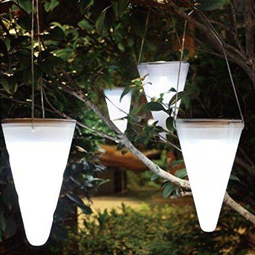 Solalite Set Of 6 Solar Outdoor Garden Hanging Tree Cornet Cone
