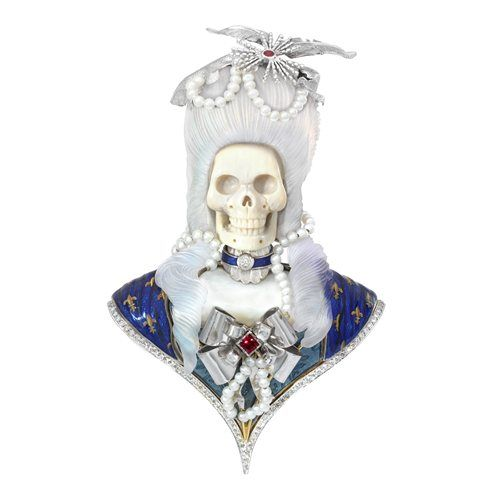 Brooch Fennell Theo This unique brooch pays homage to Frances most frivolous and infuriating queen, the ill-fated Marie Antoinette - who courted controversy throughout her short life and still attracts argument long after her gory death.