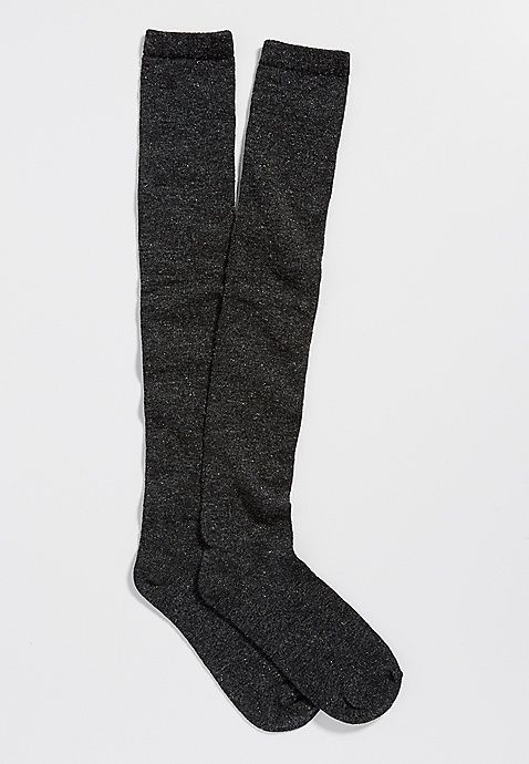 super soft boot socks with metallic shimmer in gray | maurices