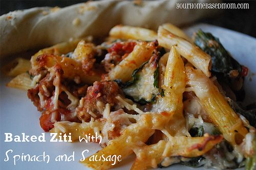 Baked *penne* with sausage and spinach--DELISH!!! (photo from ...
