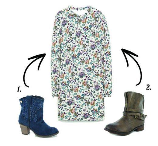 ¿Nos ayudas a combinar este vestido romántico?  Opción 1_ botas cowboy XTI  Opción 2_ botas moteras XTI  ¡Vota tu favorito !