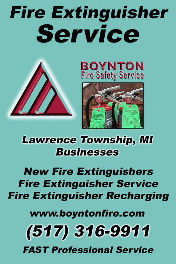 Fire Extinguisher Service Lawrence Township (517) 316-9911.. Local Michigan Businesses you have found the complete source for Fire Protection. Fire Extnguishers, Fire Extinguisher Service.. We're got you covered..