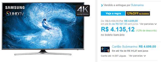 "Smart TV Nano Cristal 50"" Samsung 50JS7200 SUHD 4K com Conversor Digital 4 HDMI 3 USB Wi-Fi Função Games Quad Core << R$ 372160 >>"