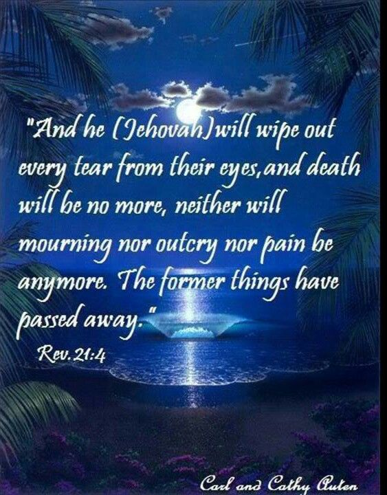 "It says that ""death will be no more."" In order for something to be no more, it had to exist in the first place. Since there has never been death in heaven and people die only here on earth, logically, then, Revelation 21:4 must be referring to future blessings here on earth.—Ps. 37:29."