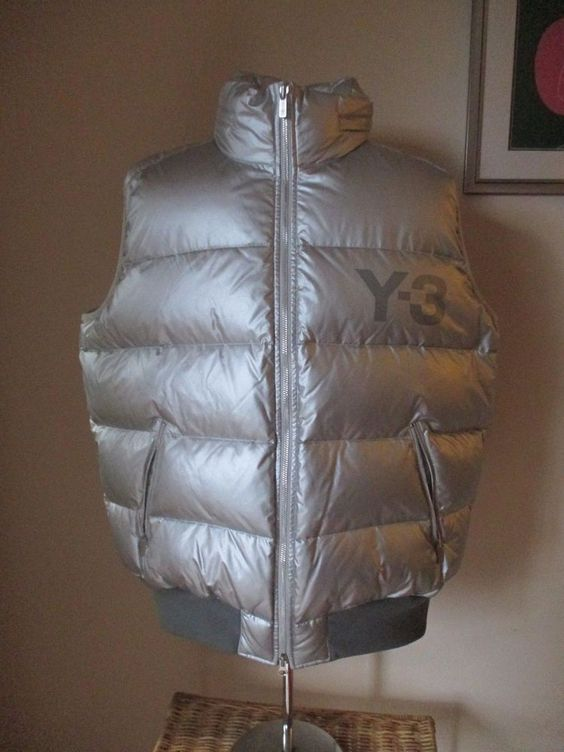 Y-3 YOHJI YAMAMOTO for ADIDAS silver feather-filled zip-front PUFFER VEST sz XL…