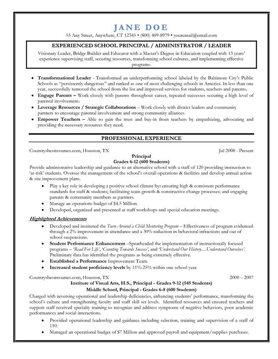 Best Images About Principal Resume On Pinterest Letter Sample Resume And Vice  Principal Vice Principal Resume  Assistant Principal Resume