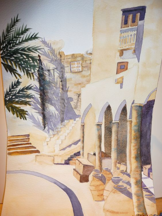 Pottery shop in Oman--painting by Christine T. Kenyon