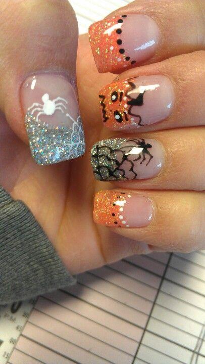 Shidale nails, gel nails Halloween! Spiders, jack o lanterns!