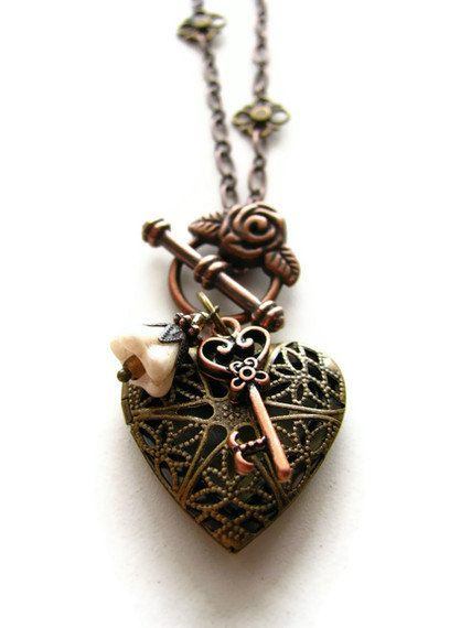 romantic heart locket necklace copper and brass in. Black Bedroom Furniture Sets. Home Design Ideas