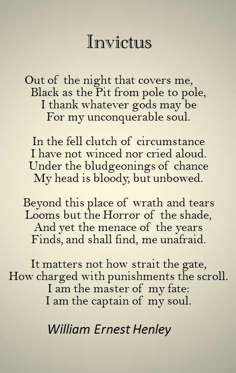 an analysis of william ernest henleys poem invictus William ernest henley (1849-1903), an influential editor, critic and poet, had a role in the late-victorian period similar to that of dr samuel johnson in the late eighteenth century he was born in gloucester as the eldest of a family of six (five sons and a daughter.