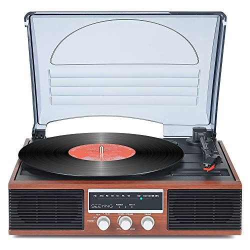 Record Player 3 Speed Turntable For Vinyl Records With Speakers Bluetooth Vintage Vinyl Record Player Support Function Screen Fm Stereo Radio Audio Output Retro Brown Wood 2020 Upgraded In 2020 Vintage Vinyl