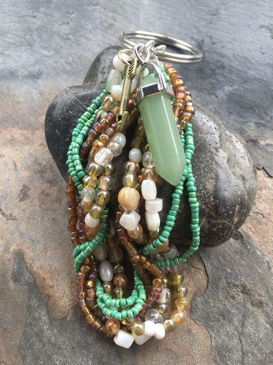 Keychains with Healing Crystals - Green Aventurine