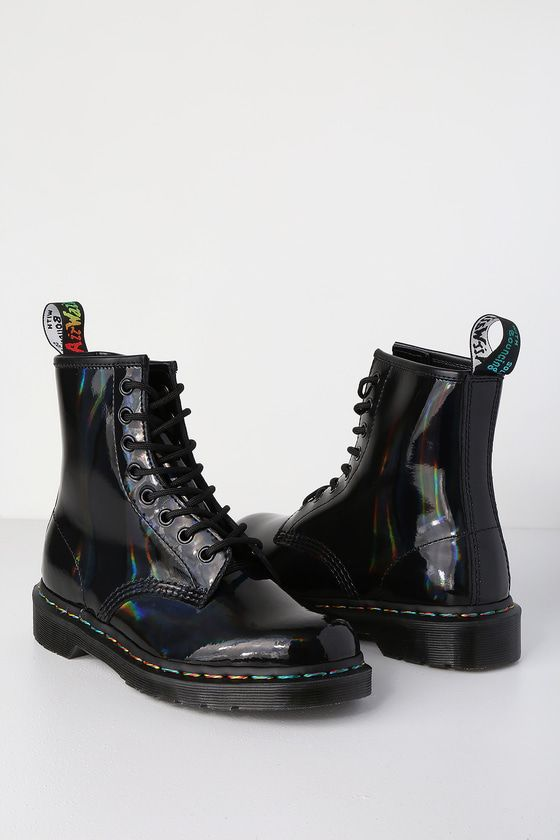 Dr Martens 1460 Pascal Black Rainbow Iridescent 8 Eye Boots Mod And Retro Clothing Boots Lace Up Combat Boots Black Boots Women