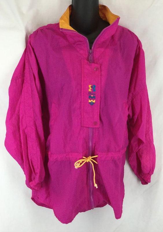 PUMA Windbreaker Track Nylon HIP HOP Zip up Jacket Neon Pink size