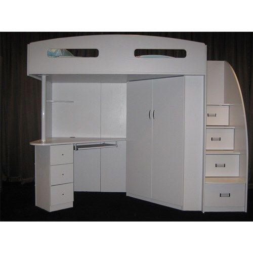 Sale Single Loft Bunk Bed Desk Bookcase Wardrobe Storage All White