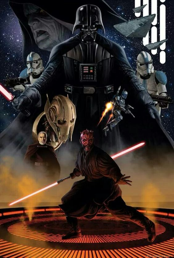"""Star Wars villains... Or protagonists? Who's to say. The brilliant thing about all these """"bad"""" guys is their touching back stories. If I had been through what Grievous had I would hate the Jedi too. Think about it, it's all perception. L"""