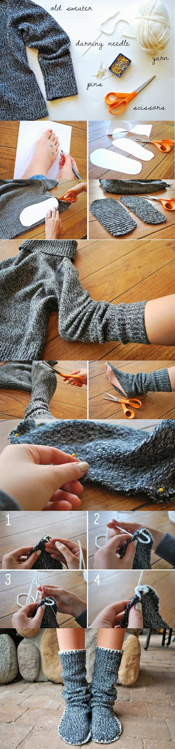 How to Make Sweater Slipper Boots (2):