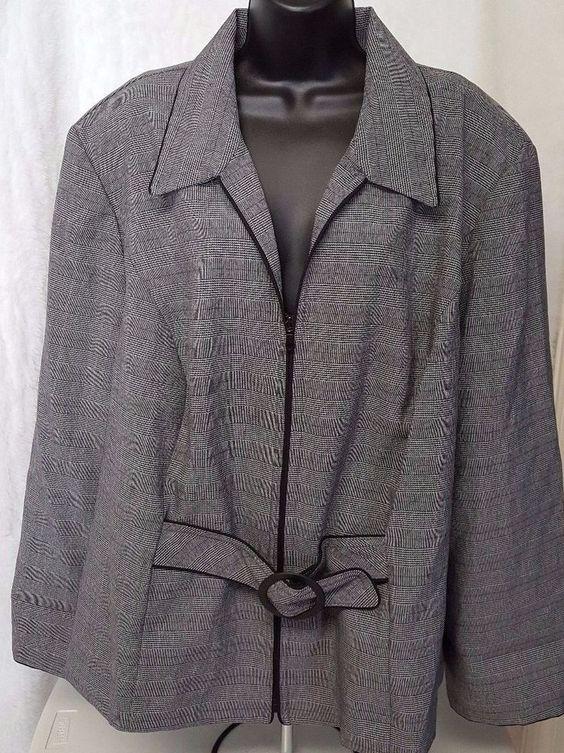 Sweet Suit NWT Woman's Plus Black/Purple/White Plaid Zipper Blazer Size 24W #SweetSuit #Blazer
