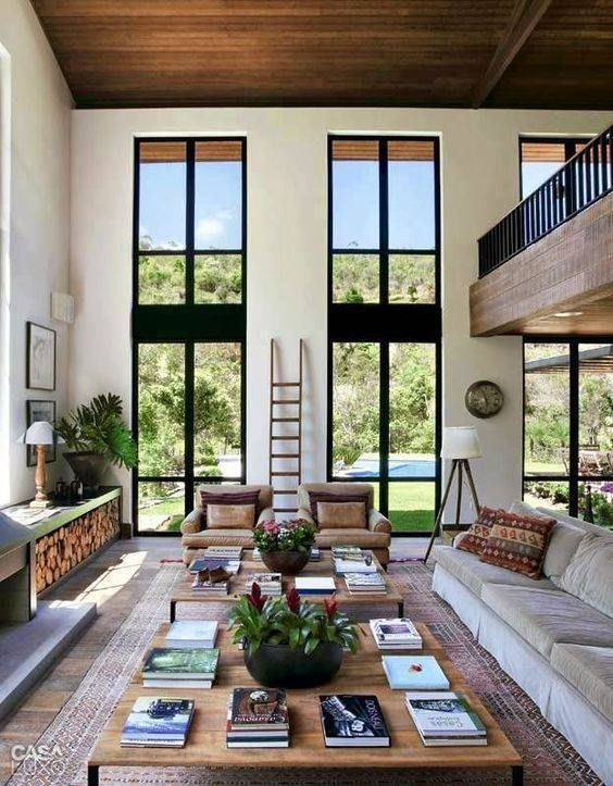 salas con ventanas grandes - Buscar con Google   Casas modernas interiores,  Casas de ensueño, Diseño interiores casas