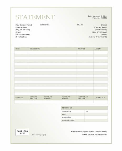 Free Billing Invoice Template – Word Statement Template