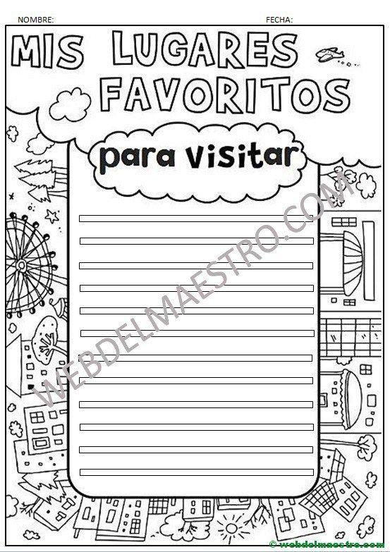Aprender A Redactar Mis Lugares Favoritos Para Visitar Aprender A Redactar Enseñando A Escribir Aprender A Escribir