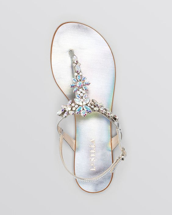 Le Silla Flat Sandals - Crystal | Bloomingdale's