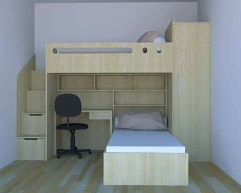 Pin By Catherine Szudarski On Moveis Double Deck Bed Space Saving Bunk Beds Small Room Bedroom Workspace