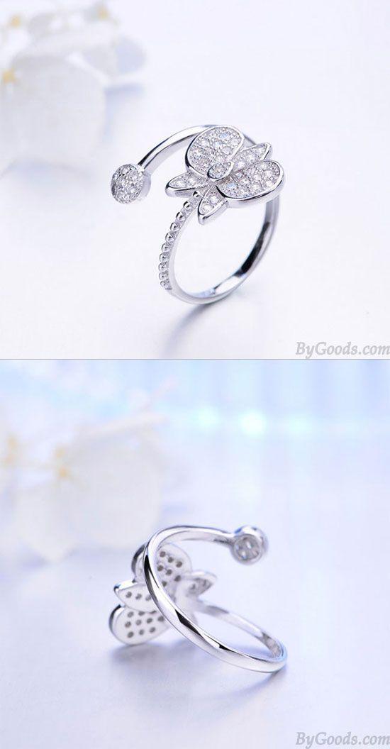 Adjustable Open Rings Rhinestone Flower Branch Ring Women Wedding Jewelry Sturdy