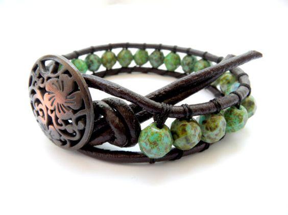boho brown leather wrap bracelet shabby chic by theflowerdesign, $29.00