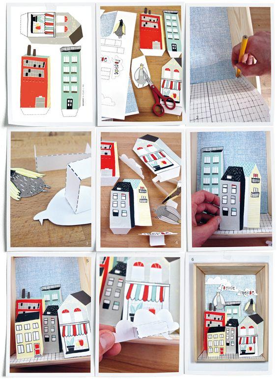 DIY City in a box by Kim Welling - Stad in een doos, inclusief wolken, duiven en een skyline. Kijk op www.101woonideeen.nl