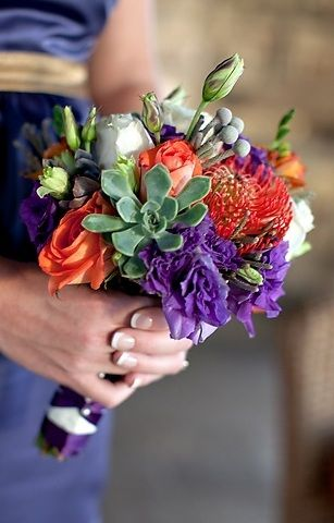Bridesmaid's bouquet with succulent accents