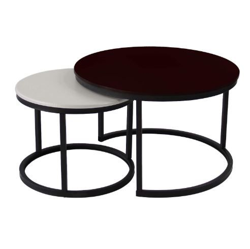 Jerry Maggie 2 Round Tea Table Coffee Table Desk Sets Black White Twin Sets Multi Function Wood Steel In 2020 Coffee Table Coffee Table Desk Nesting Tables