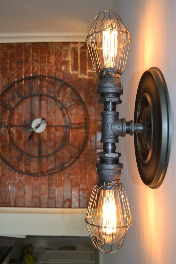 Industrial wall lights industrial and pipes on pinterest for Pipe ceiling lighting