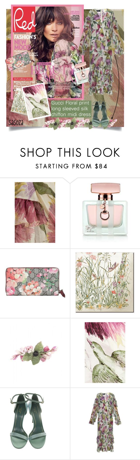 """""""Gucci Floral dress by sasoza"""" by sasooza ❤ liked on Polyvore featuring Gucci, gucci, FashionBook, floral, floraldress, moodboard, getthemood, GetTheLook, inspo and styleicon"""