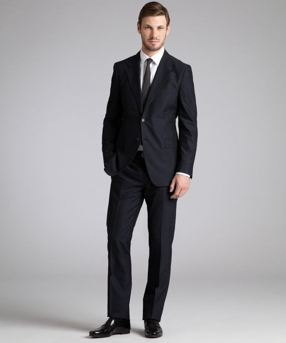 Prada navy wool blend two-button suit with flat front pants