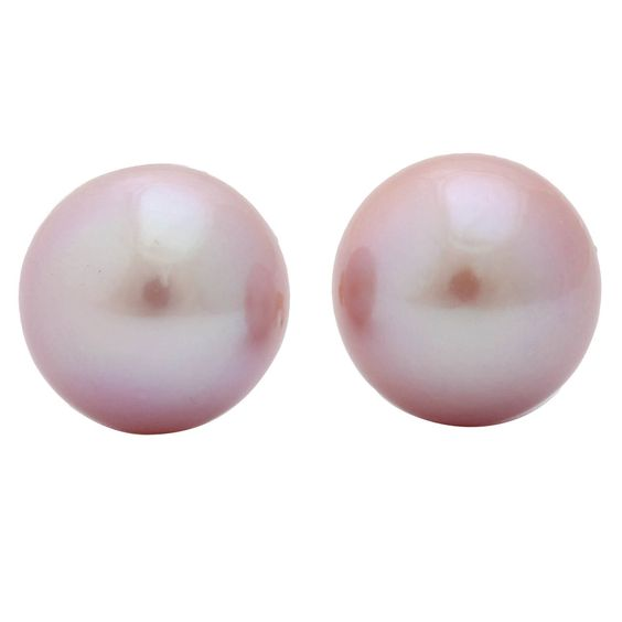 Superb Pink Pearl Earring Studs | From a unique collection of vintage stud earrings at https://www.1stdibs.com/jewelry/earrings/stud-earrings/
