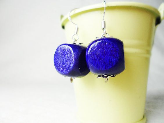 Purple cube earrings, silver hooks, Scandinavian / Nordic style